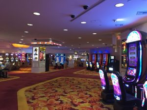 This is my hotel lobby (or part of it). It's Vegas; you can't swing a dead cat without hitting a slot machine!