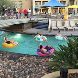 Tubing along the lazy river.